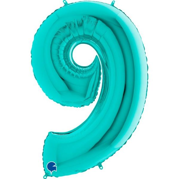 Tiffany Blue Number Balloons